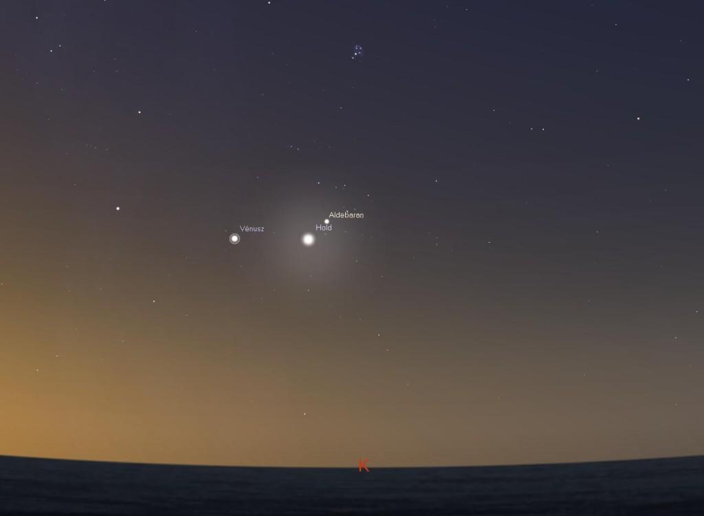 Ezért a látványért érdemes hajnalig fennmaradni vagy korán felkelni: a holdsarló és az Aldebaran szépségét kiegészíti a Vénusz ragyogása a pirkadó keleti égbolt alján (Forrás: Stellarium)