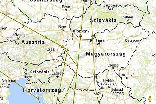 """2015-ös megjelölése óta """"Larry"""" mindhárom őszi vonulása Angliából Közép-Afrikába Magyarországon keresztül vezetett (forrás: www.bto.org)"""